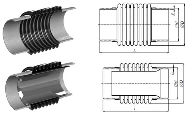 Компенсатор сильфонный осевой под приварку (КСО) стандартного исполнения РУ 16