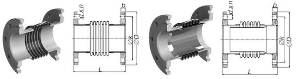 Компенсатор сильфонный осевой фланцевый (КСОФ) стандартного исполнения РУ 16