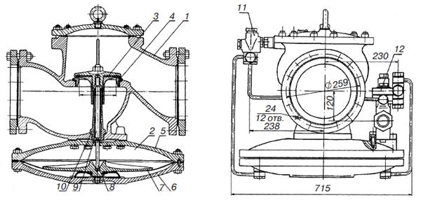 2 — мембранный привод;