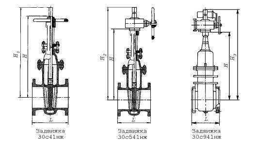 Задвижки клиновые с выдвижным шпинделем фланцевые 30с41нж, 30с541нж, 30с941нж