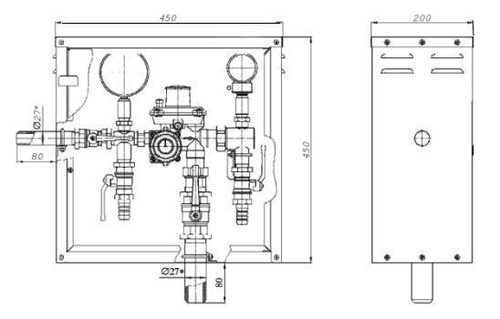Газорегуляторные пункты шкафные ГРПШ-10 с регуляторами РДГБ-10, -25 с одной линией редуцирования