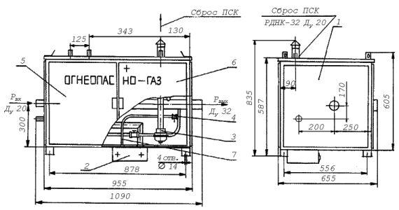 Шкафные газорегуляторные комбинированные установки среднего давления ШГКС-6/3-400, ШГКС-12/3-400 с одной линией редуцирования; и байпасом
