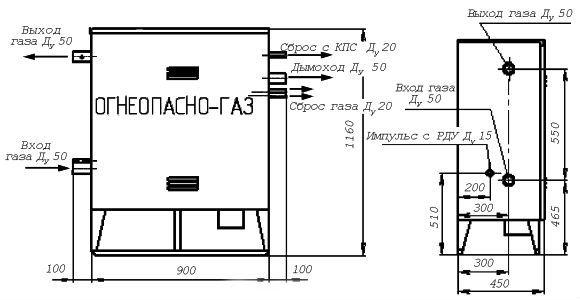 Газорегуляторные пункты шкафные ГРПН-300 с одной линией редуцирования и байпасом
