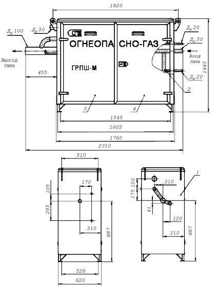 Газорегуляторный пункт шкафной с газовым обогревом ГРПШ-М