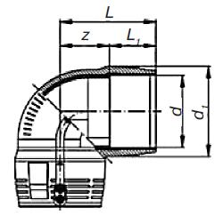 Отвод 45° э. с. SDR 11 PE 100 PN 10* «Elgef Plus»