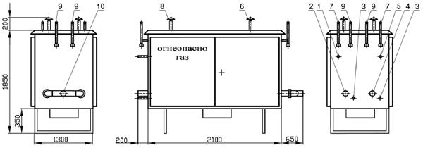 Газорегуляторные пункты шкафные* ГРПШ-13-2НВ-У1 с двумя основными и двумя резервными линиями редуцирования и разными регуляторами на среднее и низкое выходное давление при параллельной установке регуляторов
